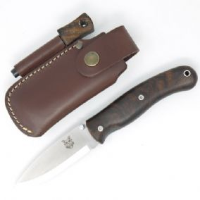 TBS Boar Folding Lock Knife - Turkish Walnut with Firesteel Belt Pouch